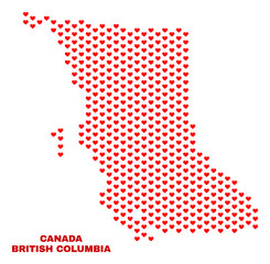 Mosaic British Columbia map of valentine hearts in red color isolated on a white background. Regular red heart pattern in shape of British Columbia map. Abstract design for Valentine illustrations.