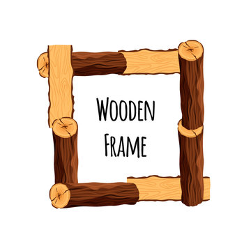 Wooden frame of tree logs isolated on white background. Square timbered border with place for text - flat vector illustration