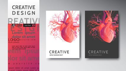 Template cover flyer Mock-up heart art illustration vector