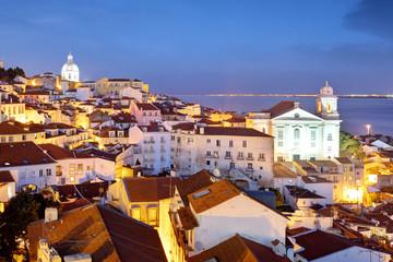 Zelfklevend Fotobehang Palermo Lisboa at night from miraduro Portas do Sol