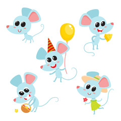 Vector set of cartoon funny blue mice isolated on white