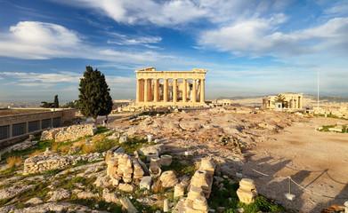 Acropolis with phanteon, Athens, Greece. Nobody