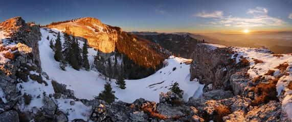 Slovakia mountain at winter, peak Tlsta at sunset, Fatra