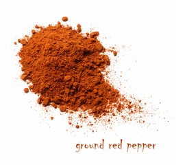 Red ground pepper. White isolated background. View from above.
