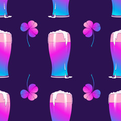 St. Patrick's day festive seamless pattern with shiny pints of beer and clover leaves. Trendy colors. PEPS10 vector illustration.