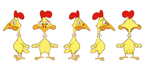 Foto auf Leinwand Babyzimmer Vector Illustration of a Cute Cock Cartoon Character for you Design and Computer Game. Storyboard