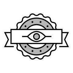 Eye linear emblem. Author supervision symbol. A Trendy vector line style. Guarantee stamp sign. Eye pictogram contour style.