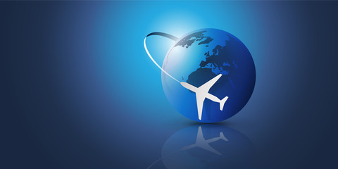 Traveling Around the World - Travel by Airplane - Globe Design