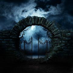 scary gate. Horror night. Moonlight.