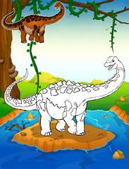Coloring dinosaurs. Titanosaurus. Coloring for kids.
