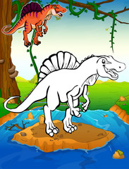 Coloring dinosaurs. Spinosaurus. Coloring for kids.