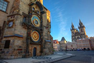Wall Murals Prague Prague Old Town Square, sunrise at Astronomical Clock Tower, Czech republic, Europe.