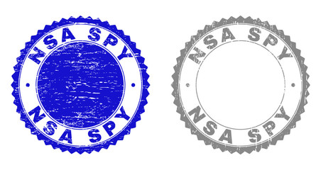Grunge NSA SPY stamp seals isolated on a white background. Rosette seals with grunge texture in blue and grey colors. Vector rubber stamp imprint of NSA SPY title inside round rosette.