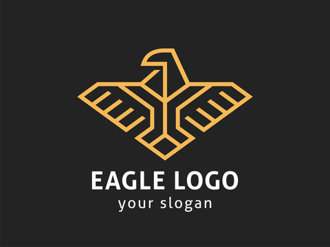 Eagle Abstract Logo design vector template Linear style.