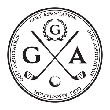 Vector label of golf. Logo of golf championship. Vector illustration
