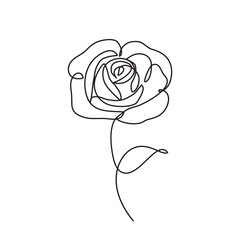 Deurstickers One Line Art rose line icon