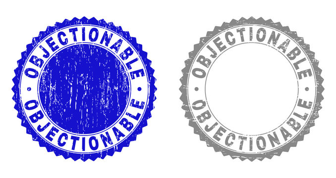 Grunge OBJECTIONABLE stamp seals isolated on a white background. Rosette seals with distress texture in blue and gray colors. Vector rubber stamp imitation of OBJECTIONABLE tag inside round rosette.