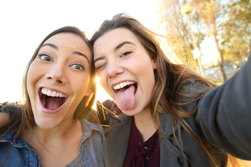 Funny women joking taking selfies in the street