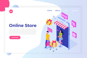 Online Shopping isometric concept with characters. Ecommerce retail on device. Vector illustration.