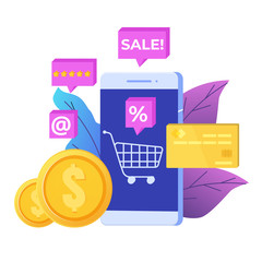 Online Shopping on mobile phone concept. Ecommerce retail app on device. Vector illustration.