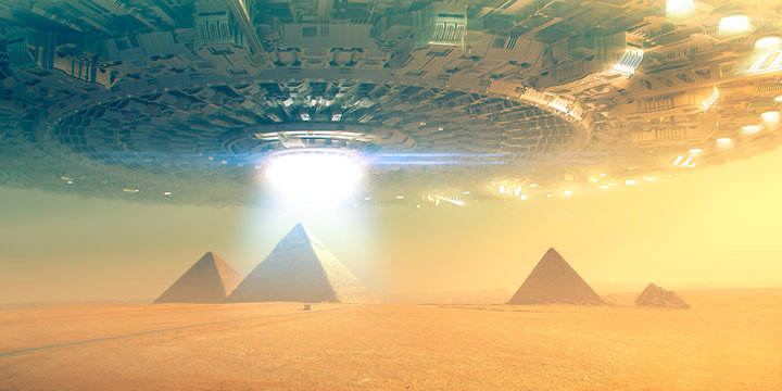 Giant Flying saucer over pyramid in giza -  3d rendering