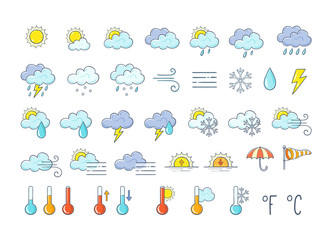 Fototapeta Colorful weather icons set. Hand drawn weather forecast design elements isolated on white background. Contains icons of the sun, clouds, snowflakes, storms, wind, rain, and more.