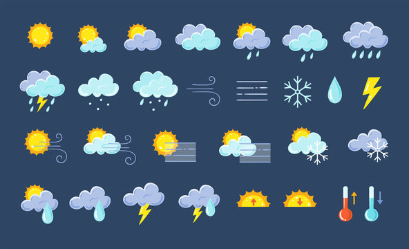 Weather icons pack. Colorful weather forecast design elements, perfect for mobile apps and widgets. Contains icons of the sun, clouds, snowflakes, wind, rain, temperature and more. 29 icons pack.