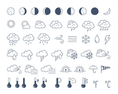 Weather icons pack. Hand drawn weather forecast design elements, isolated on white background. Contains icons of the sun, clouds, snowflakes, wind, rain, moon phases and more. 48 icons pack.