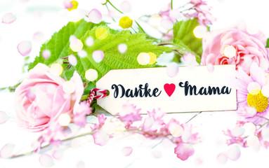 Karte Muttertag Danke Mama Hintergrund floral Schild