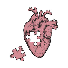 Human heart with missing puzzle piece hand drawn line art and dotwork. Flash tattoo or print design vector illustration.