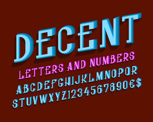 Decent letters with numbers and currency signs. Urban volumetric font. Isolated english alphabet.