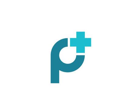 Letter P cross plus medical logo icon design template elements