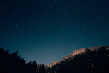 star spankled sky in the dolomites