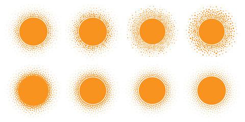 Wall Mural - Sun icon set. Halftone orange circle with gradient texture circles logo design element. Vector illustration