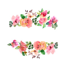 Floral frame with watercolor  roses. Wedding floral invitation. Greeting card design.