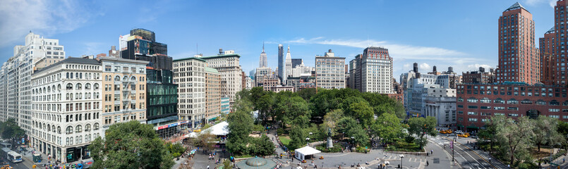 Amazing panoramic aerial view of Union Square at New York City. USA