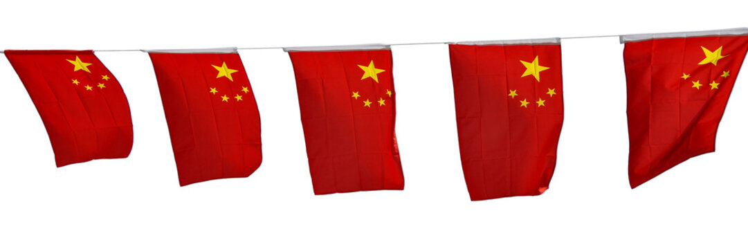 Chinese flags garland isolated on white background