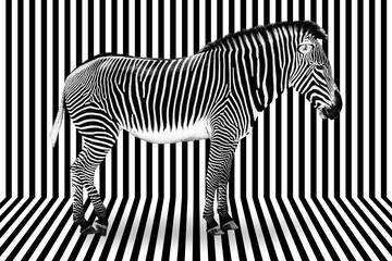 Fototapeten Zebra Surreal zebra on black and white striped background