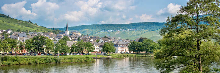 Landscape of the Mosel valley and river with a picturesque village, Germany