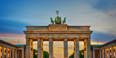Printed roller blinds Berlin Brandenburg gate illuminated at sunset , Berlin, Germany
