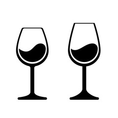 Wine glass vector icons. Isolated wineglass silhouette, alcohol beverage sign