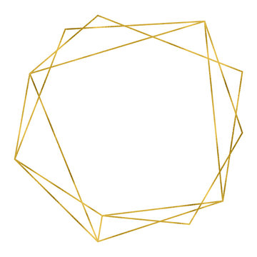 Art deco style gold geometrical polyhedron linear frame