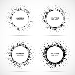 Wall Mural - Halftone circular dotted frame set. Circle decorative dots isolated on the white background. Logo design element for medical, treatment, cosmetic. Round border using halftone circle dots texture.