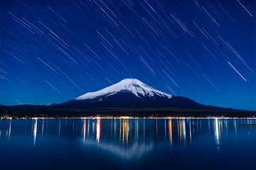 Nightview of Mount Fuji with startrails from Lake Yamanaka in winter. (山中湖からの富士山夜景スタートレイル画像)