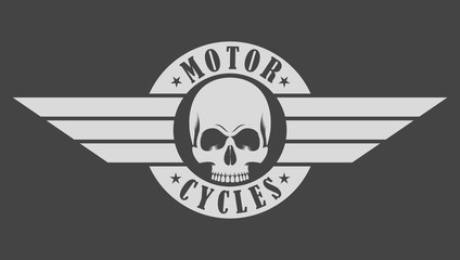 Biker emblem skull wings and text on gray background