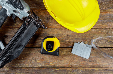 Helmet safety glasses construction and gun air nailer tool