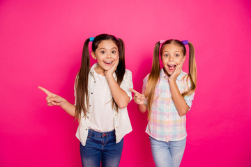 Close up photo two small little age she her girls wondered sisters show empty space point way direction finger wearing casual jeans denim checkered plaid shirts isolated rose vibrant vivid background