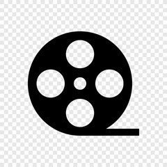 Video, film icon on transparent grid