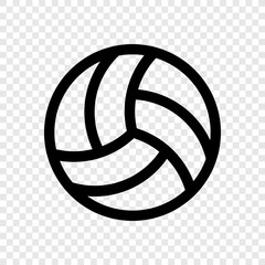 Volleyball icon vector on transparent grid