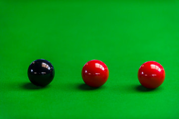 Snooker balls on the table at snooker club
